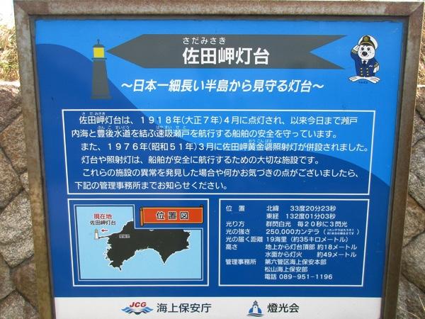 佐田岬灯台の案内板