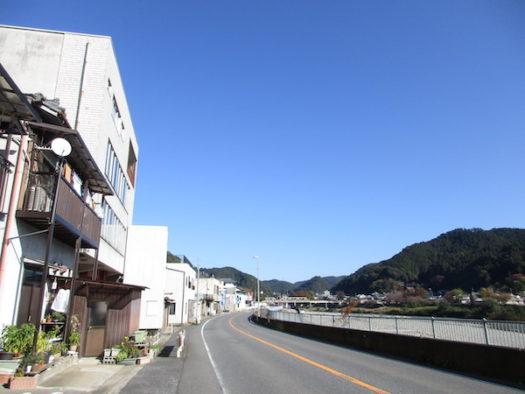 吉野川沿いに町並みがつづく