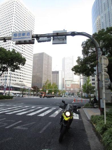 国道1号の終点、梅田新道の交差点に到着